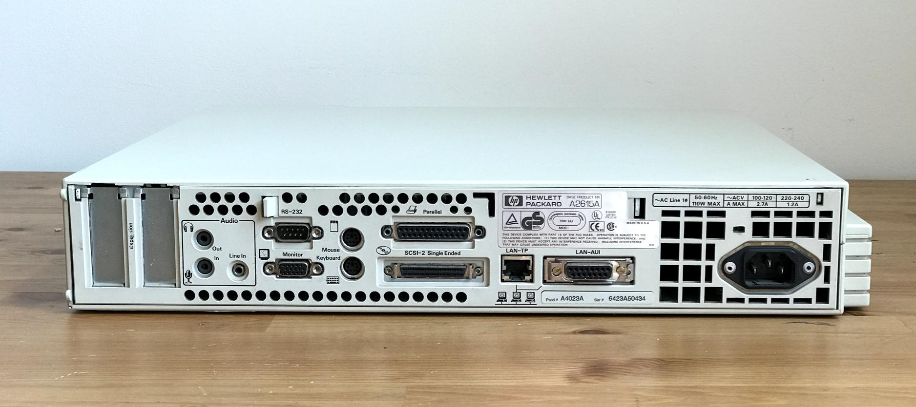 ports on the back of the hp712
