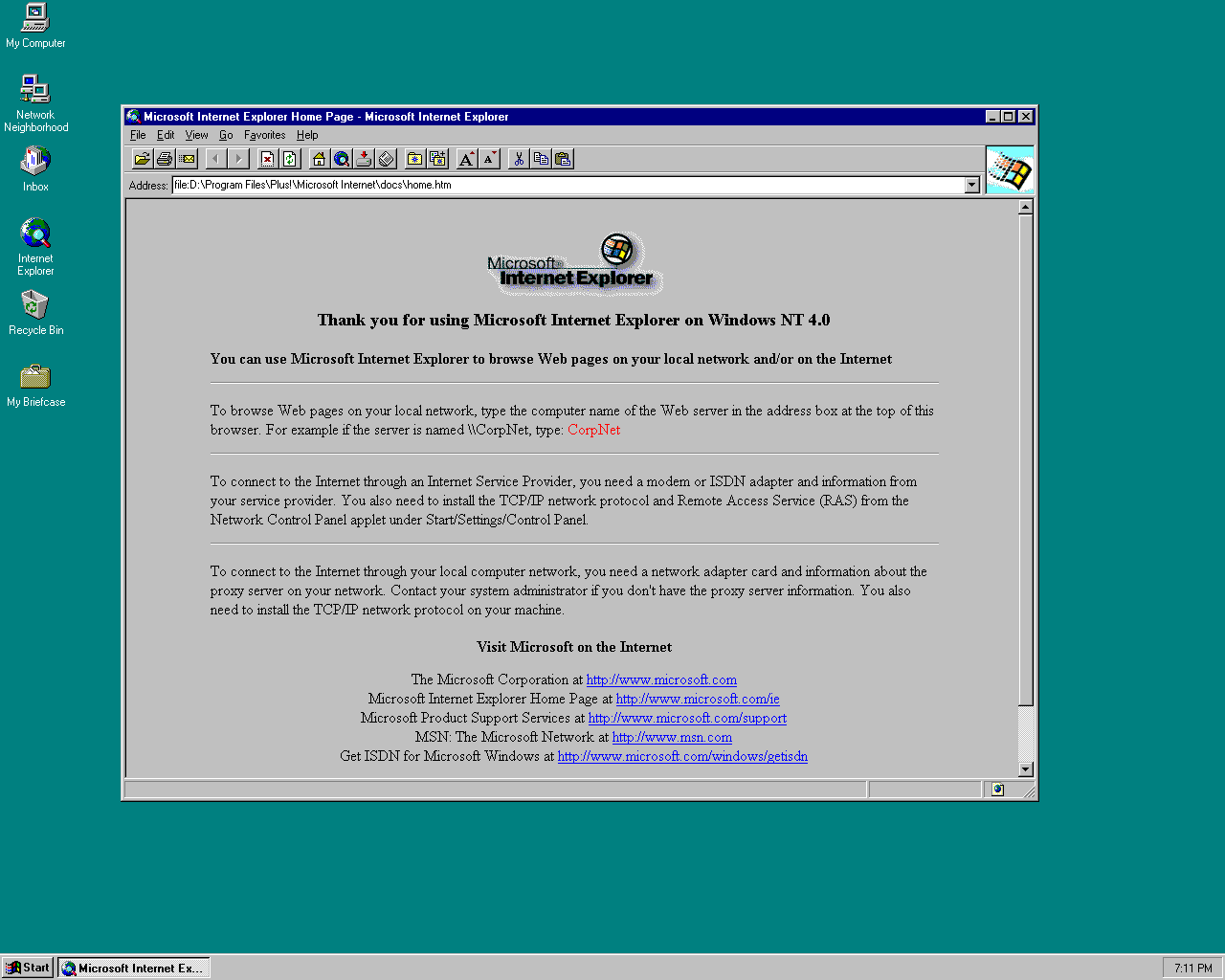 internet explorer splash page